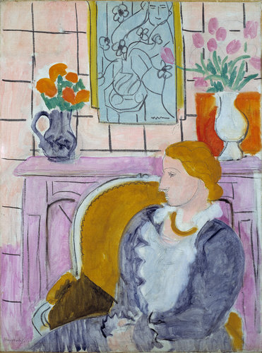 Woman In Blue in Front of Fireplace - Matisse