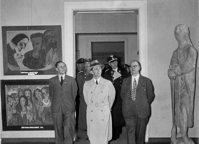 "Josef Goebbels inspects the Nazi ""Degenerate Art Exhibit of 1937""  ("